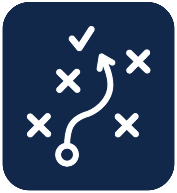 arrow leading from a circle, weaving between x shapes toward check mark, similar to a football play