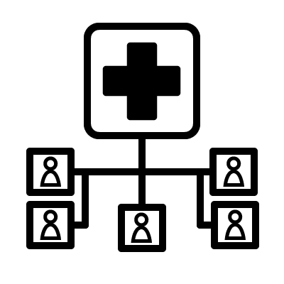 A cross indicating health, connected by lines to a group of stick figures.