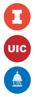 Three circles containing the logos for UIUC, UIC, and UIS.
